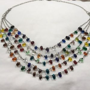 Glass bead necklace. Rainbow colors.